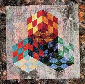 Tumbling blocks nine patch quilt - wonderful ably made amish.