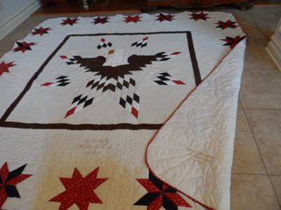 Lone Star Eagle Quilt Front and Back